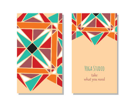 stretchy: Cards template for yoga studio.   editable pattern with front and back side visit cards or flyer.  Arabic pattern Stock Photo