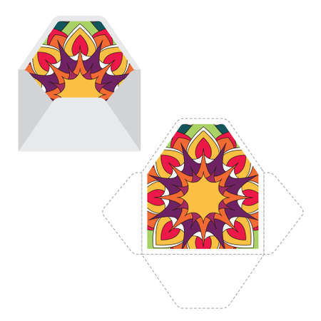 Mandala pattern paper sleeve template Illustration
