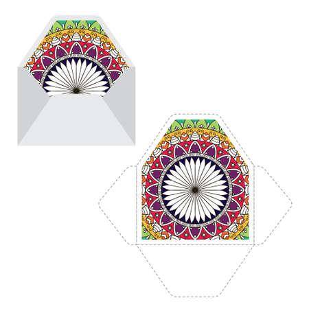 Mandala pattern paper sleeve template Ilustração