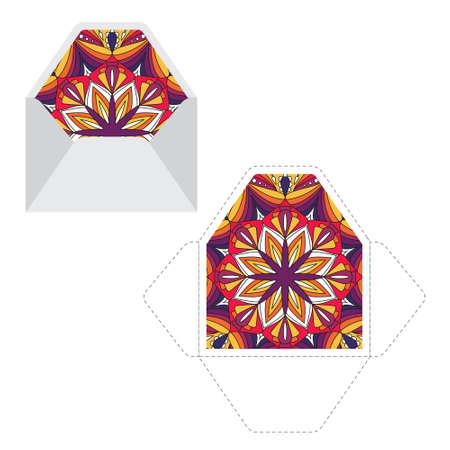 Mandala pattern sleeve cutting machine template. Ready for print. Isolated vector.