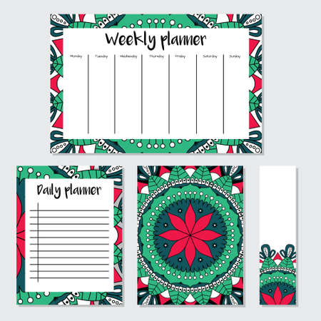 Mandala pattern weekly and daily planner template. Organizer with notes and bookmark.  Ready to print. Isolated vector