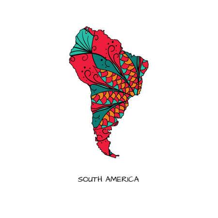 bandera de paraguay: Mapa de América del Sur en estilo dibujado a mano