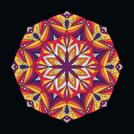 Mandala flower design for coloring book, invitations and prints