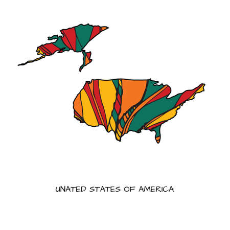 Map of USA in hand drawn style