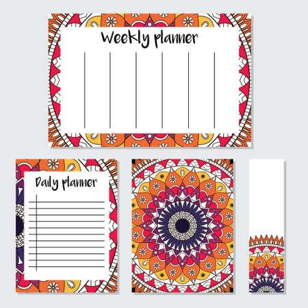 Mandala patroon wekelijkse en dagelijkse planner sjabloon. Organisator met notities en bladwijzer. Klaar om te printen. Geïsoleerde vector