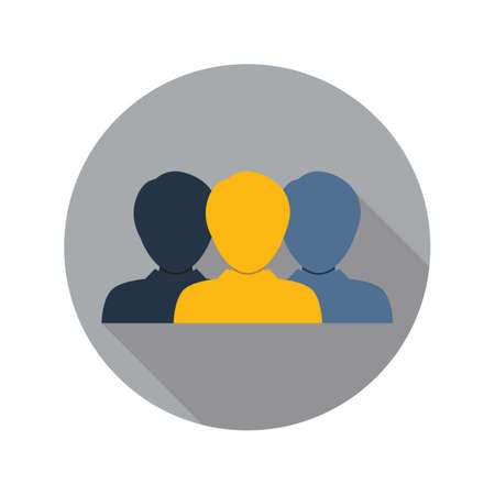 People icon on circle in flat style for web, infographics and creative design