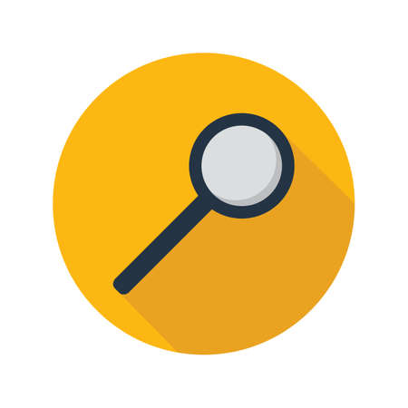 Magnifying glass icon in flat style on circle for web, infographics and creative design