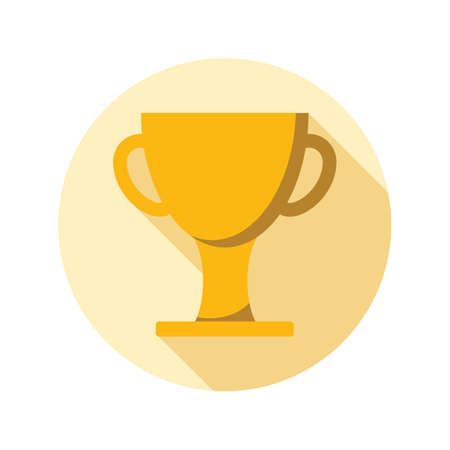 Cup winner icon in flat style on circle for web, infographics and creative design