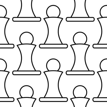 tactics: Chess pawn seamless pattern in outline style for web, infographics and creative design.