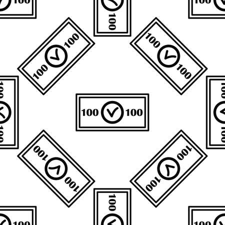 country: Money seamless pattern in outline style for web and infographics.