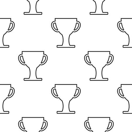commerce: Cup winner seamless pattern in outline style for web and infographics. Isolated vector illustration