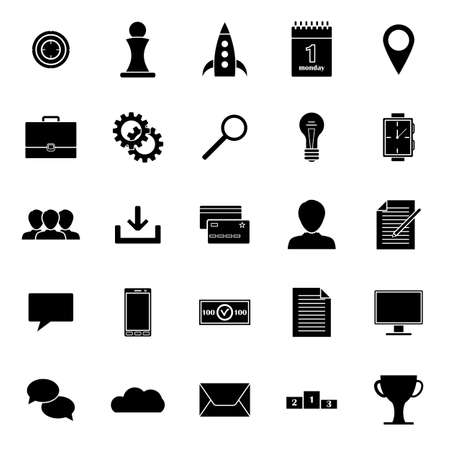 internet search: 25 business icons in simple style for web, infographics and creative design. Vector illustration