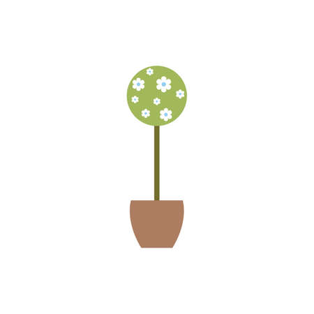 modern interior: Flowerpot in flat style for web, infographics and creative design. Vector illustration