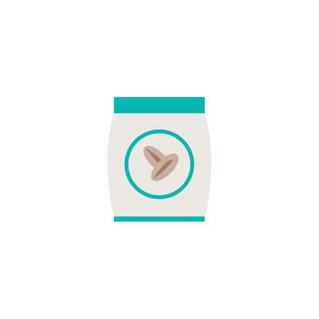 labelling: Pack with seed icon in flat style for web, infographics and creative design. Vector illustration