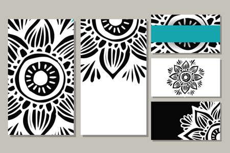 요가 스튜디오 또는 클래스에 대 한 카드 템플릿. 벡터 편집 가능한 패턴 앞면과 뒷면