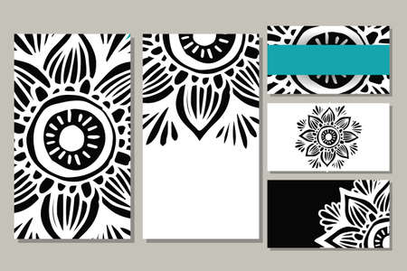 Cards template for yoga studio or class.  Vector editable pattern with front and back side