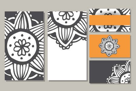 kundalini: Cards template for yoga studio or class.  Vector editable pattern with front and back side