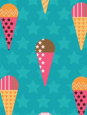 Organizer Cover in Scandinavian Style with Ice-cream Pattern. Perfect for Print, Template, Book. Vector isolated illustration