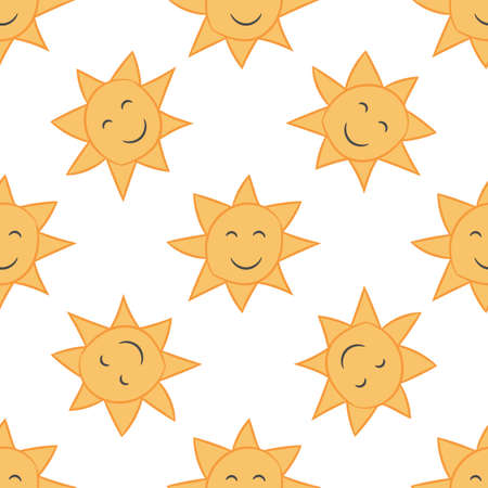 Sun seamless pattern in hand drawn style for cards, fabric and nursery decor. Vector illustration.