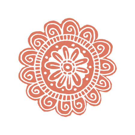 scrap book: Flower mandala in hand drawn style for prints, fabric and tattoo. Vector illustration. Isolated on white