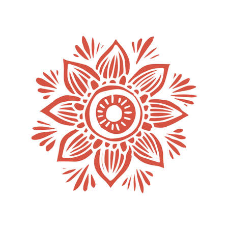 Flower mandala in hand drawn style for prints, fabric and tattoo. Vector illustration. Isolated on white