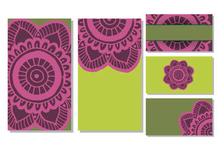 stretchy: Cards template for yoga studio or class.  Vector editable pattern with front and back side