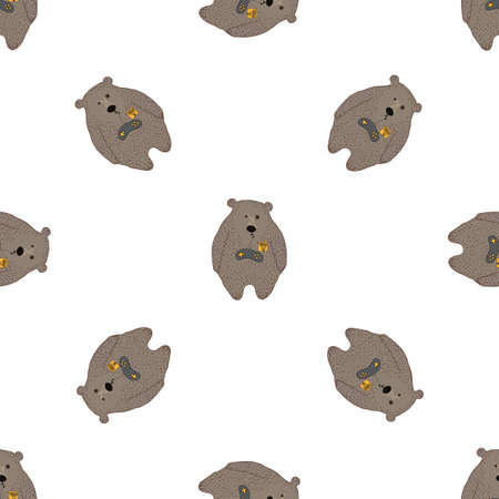 smiley: Bear seamless pattern in hand drawn style for cards, fabric and nursery decor