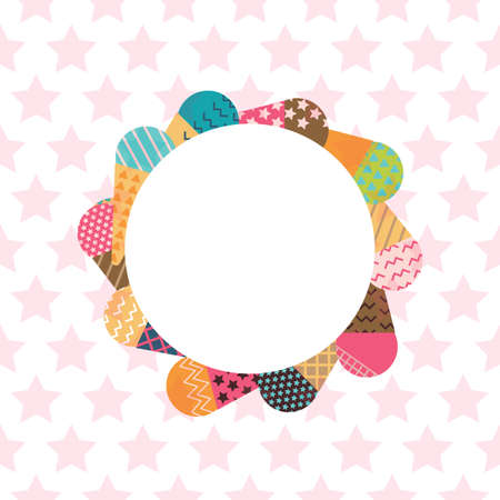 white fabric texture: Ice-cream Frame in Scandinavian Style for print, fabric and creative design. Vector illustration
