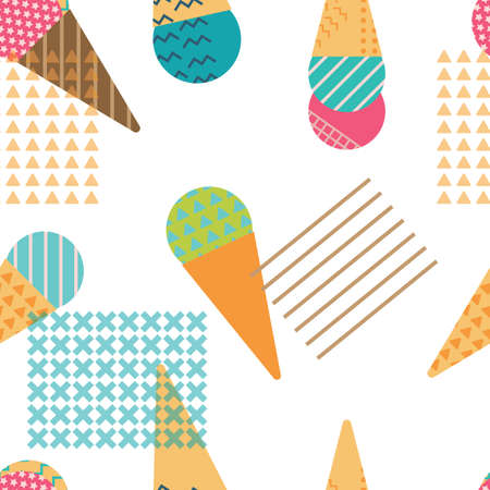 Ice-cream Seamless Pattern in Scandinavian Style for print, fabric and creative design. Vector illustration Ilustração
