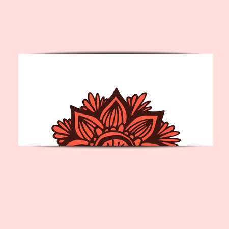 bakground: Banner with flower mandala in hand drawn style Illustration