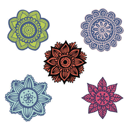 scrap book: Set of 5 flower mandala in hand drawn style