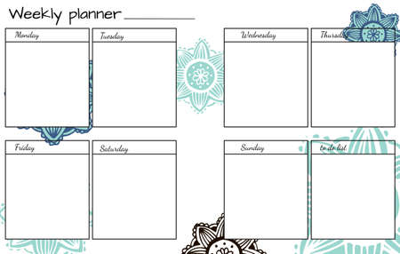 weekly: Weekly Planner with Hand Drawn Flower Mandala. Perfect for Print, Template, to do list. Vector isolated illustration.