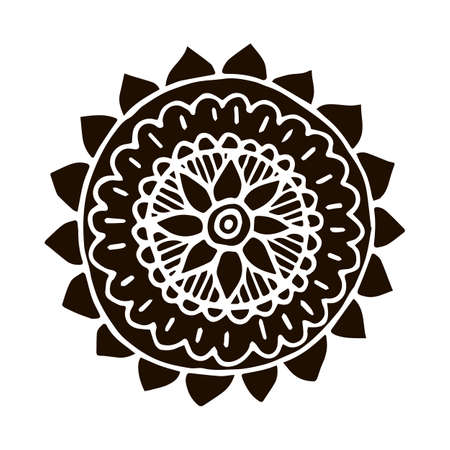scrap book: Flower mandala in hand drawn style for prints, fabric and ceramic. Vector illustration. Illustration