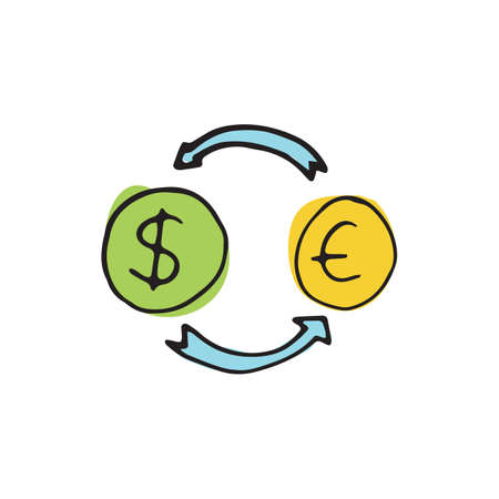exchanger: Money icon in hand drawn style on circle for web, infographics and creative design Illustration