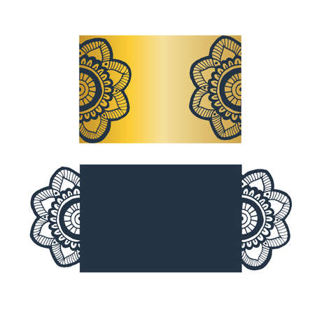 cutted: Flower mandala wedding invitation - hand drawn style pattern. Perfect for laser cutting.