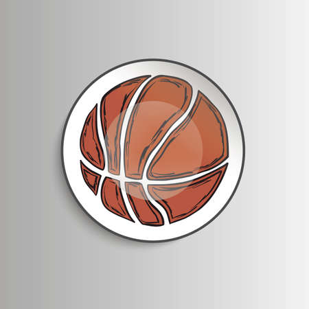 Plate with basketball ball - template for prints, fabric. Vector illustration.