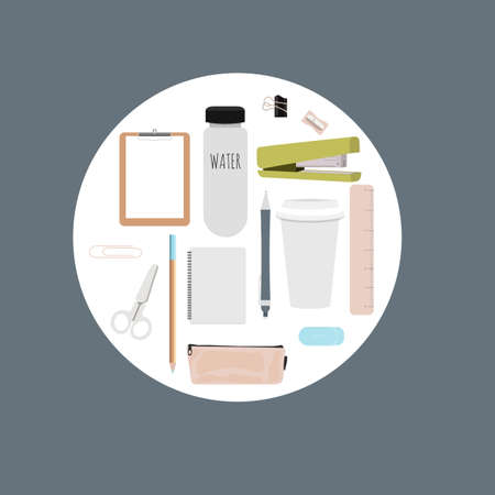 engrapadora: Iconos de educación en estilo plano. Papelería escolar para impresiones, patrones y diseño creativo. Ilustración vectorial