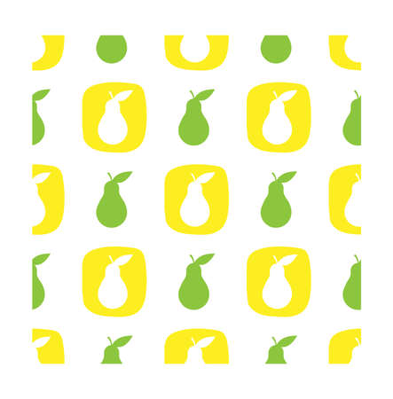 scrap book: Pear seamless pattern in flat style.  Vector illustration for print, fabric and creative design Illustration