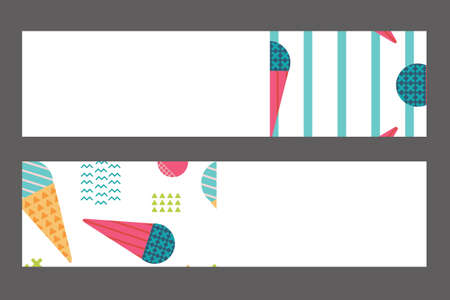 website header: Banners Set in Scandinavian Style with Ice-cream Pattern. Perfect for Web, Header, Bookmark. Vector isolated illustration Illustration