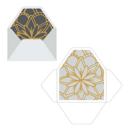 Envelope template with mandala pattern. Perfect for print and wedding invitations