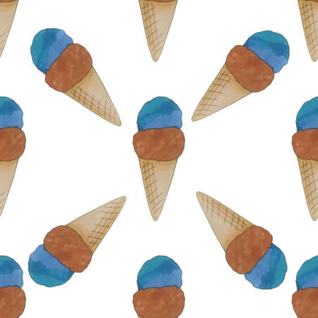 Ice cream seamless pattern in marker style. Hand drawn illustration on white background