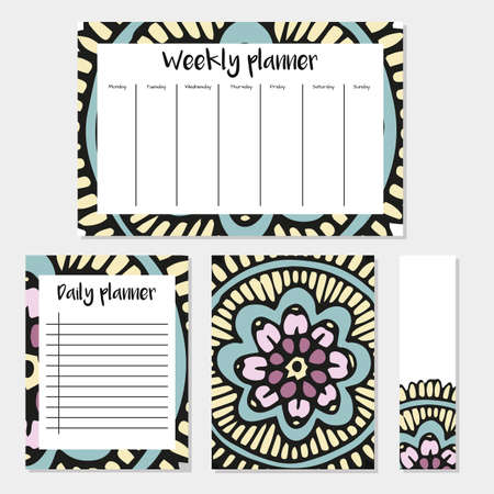 Weekly and Daily Planners in Indian Style with Mandala Pattern. Perfect for Print, Template, to do list. Vector isolated illustration