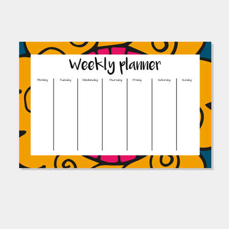weekly: Weekly Planner in Indian Style with Mandala Pattern. Perfect for Print, Template, to do list. Vector isolated illustration Illustration