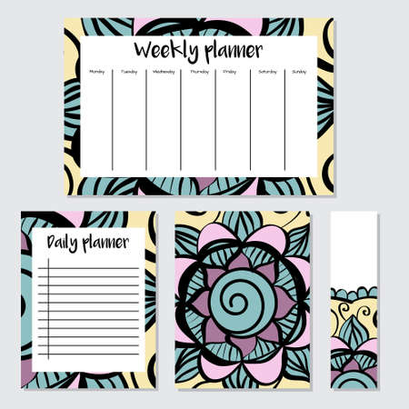 weekly: Weekly and Daily Planners in Indian Style with Mandala Pattern. Perfect for Print, Template, to do list. Vector isolated illustration