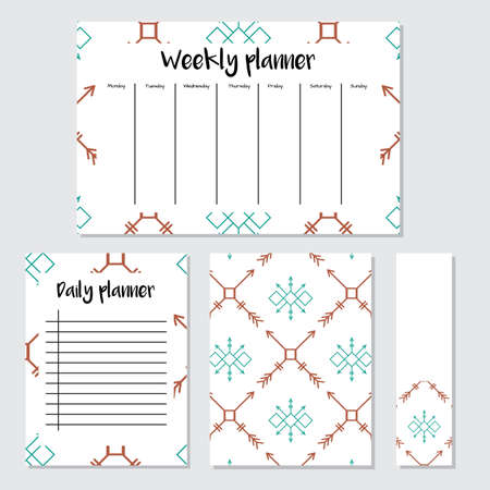 weekly: Weekly Planner in Scandinavian Style with Ice-cream Pattern. Perfect for Print, Template, to do list. Vector isolated illustration
