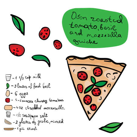 Quiche with basil and mozzarella receipt in hand drawn doodle style for pizzeria, menu and creative design. Vector illustration.
