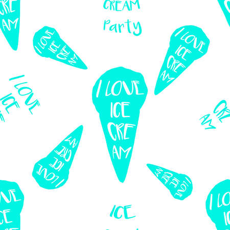 Ice-cream seamless pattern with lettering in hand drawn style for print, fabric and creative design. Vector illustration