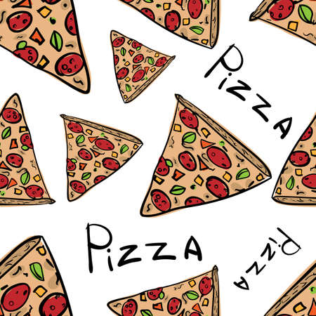 Pizza seamless pattern in hand drawn doodle style for pizzeria, menu and creative design. Vector illustration.