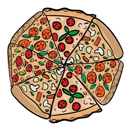 Pizza in hand drawn doodle style Illustration