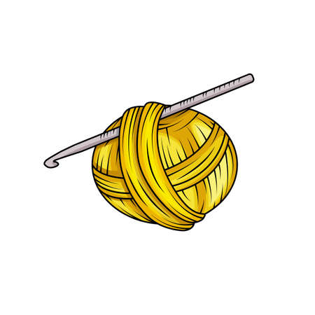 Yarn ball in cartoon style. For print, logo, creative design. Vector illustration. Isolated on white